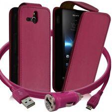 Housse Coque Etui pour Sony Xperia U + chargeur auto Couleur Rose