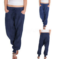 Womens Casual Oversized Jogging Joggers Cuffed Bottoms Ladies Jog Pants Trousers