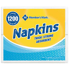 "Member's Mark 1-Ply Everyday White Napkins, 11.4"" x 12.5"" (4 pk., 300 ct. 1200"