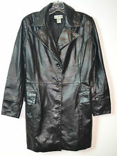 Bebe 100 % Genuine Black Leather Jacket Women's Trench Size S Excellent