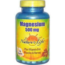 Magnesium, 500 mg, 100 Caps, Oxide, Citrate, Malate +Vitamin B-6 - Nature's Life