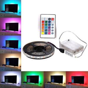 5V LED Strip Lights RGB TV Back Light Kitchen Battery Powered Remote Control UK