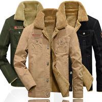 Fashion Men's Warm Fur Lined Army Jacket Winter Casual Parka Outwear Coat