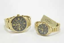 Fossil BQ2400SET Grant Chronograph Gold Tone Couple's Watch Set