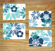 Teal Turquoise Blue Wall Art Prints Pictures Floral Bloom Burst Tropical Flowers