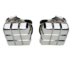 Chopard Ice Cube 18K White Gold Textured 9 Squares Geometric Minimalist Earrings
