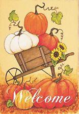 New listing Welcome Harvest Orange Pumpkin Cart 30 x 44 Rectangular Large House Flag