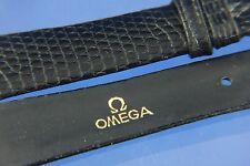 Genuine Omega 15mm Negro Reloj Correa De Cuero Grano Reptil Nuevo