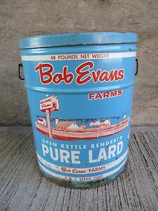 """LARGE Vintage Advertising Tin Can - Cooking Lard - """"Bob Evans"""" (#17)"""