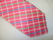 Faconnable 100%  Silk Pink Green and Blue Checked Necktie NWT $135 Made in Italy