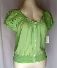 Womens Green Eyelet Lace Peasant Top Size M Sleeves Cotton Liz & Co NWT Summer