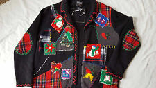 Pretty Christmas Holiday Sweater Cardigan Ladies Button Front Cotton Appliques S