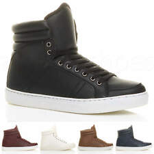 553465e2266821 MENS LACE UP CASUAL FLAT HI HIGH TOP ANKLE BOOTS SHOES TRAINERS SNEAKERS  SIZE
