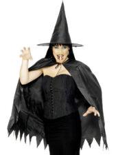 Sorcière Kit Noir Cape Chapeau Nez Femmes Accessoire Déguisement Halloween