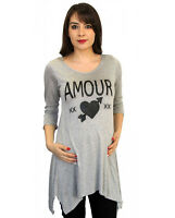 Gray Long Sleeve Top Blouse Tunic Casual Maternity 3/4 Pockets Amour S M L XL