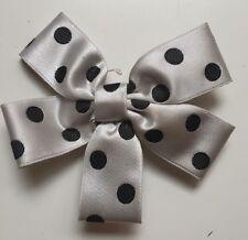 Alannah Hill Silver/Grey & Black Polka Dot Bow Hair Clip