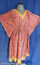 Kaftán Kimono ROJO-NARANJA s Seda Flores 98cm handgefertigt -india