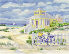 Beach Cruiser Cottage II Landscape Art Poster Print by Paul Brent, 14x11