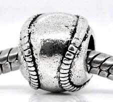 Antiqued Silver 11mm Baseball or Softball Large 5mm Hole European Charm Bead 1pc
