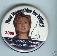 2008 HILLARY Clinton pinback  NEW HAMPSHIRE Primary CAMPAIGN pin