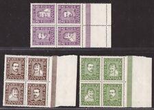 Denmark, 1924 Postal Service Tercentenary set in nh mint blocks -Cs88