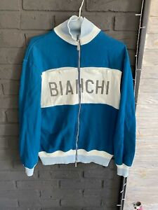 Very rary bianchi jacket vintage Classic Wool  sweater navy size xxl cycling
