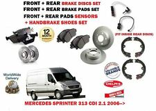 FOR MERCEDES SPRINTER 313 CDI 2006-> FRONT + REAR BRAKE DISCS + PADS SET + SHOES