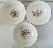 Vintage Haviland Limoges China 3-Plate Set - White/Gray w/ Unique Purple Flowers