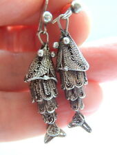 Victorian Silver Filigree Articulated Fish Earrings