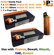 45mm + 50mm Mixed 16g ANGLED Nails, 2 x 500 pack + 1 x Fuel Cell for Paslode