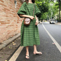 Lady Oversized Retro Check Dress Short Sleeve Loose Casual Fashion Plain Dress