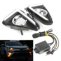 DRL LED Daytime Running Light Fog Lamp W/ Turn Signal For Toyota RAV4 2016-2018