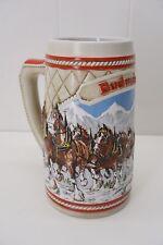 BUDWEISER by CERAMARTE Vintage 1985 Ceramic Clydesdale Winter Mountain Stein Mug