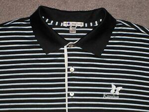 Men's PETER MILLAR Golf Polo L BLACK w/Stripes w/KAPALUA Golf Logo ~ 100% Cotton