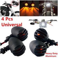 4Pcs Motorcycle Grill Bullet Blinker Turn Signal Light Amber Lamp Bobber Chopper