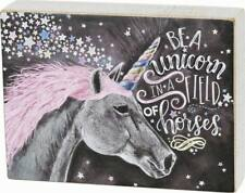 """Primitives By Kathy Chalk Box Sign - """"Be A Unicorn In A Field Of Horses  """""""