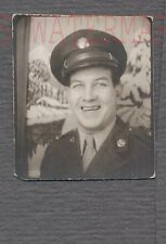 Vintage Photo Army Man w/ Service Hat in Photobooth 705357