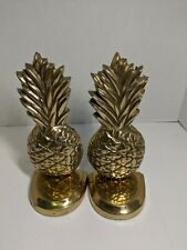 """Vintage Brass Pineapple Bookends 8 1/2"""" High Very Heavy And Felted Bottom"""