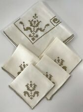 Vintage LINEN Ivory Tablecloth w/ 4 Napkins Set ~ Taupe Cross-stitch Embroidery