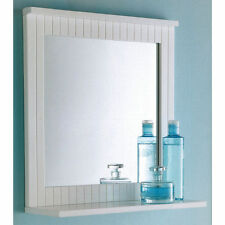 Maine White Bathroom Wood Frame Mirror Wall Mounted with Cosmetics Shelf NEW