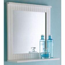 Maine White Bathroom Wood Frame Mirror Wall Mounted with Cosmetics Shelf NEW
