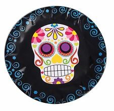 Day of the Dead Round Paper Plates x 8, Halloween Party/Catering Supplies #CA