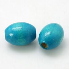 15 Turquoise Wooden 17mm x 13mm Rice Oval Beads (DD)