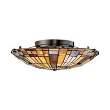TIFFANY STYLE  SEMI FLUSH STAINED GLASS CEILING LIGHT