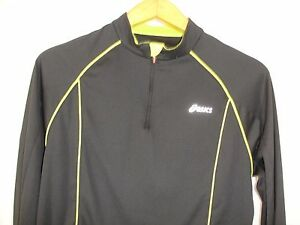 Asics Mens Quarter Zip Long Sleeve Black Neon Green Track Top S