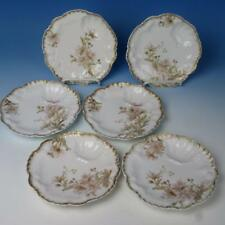 Rare Lanternier Limoges China - Set of 6 Individual Oyster Plates - 6¾ inches