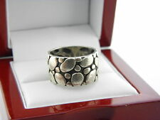 Sterling Silver Pebbled Band Ring Size 7 #5