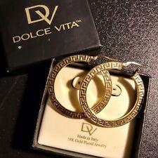 DOLCE VITA ITALY 18K GOLD PLATED EARRINGS MEDIUM HOOP GREEK KEY DESIGN with Box