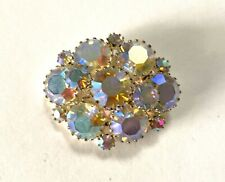 Genuine Vintage Costume Jewellery Opalescent Diamante Brooch 1940s 50s Glamour!