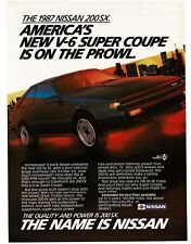 1987 Nissan 200 SX SE Coupe Black 2-door VTG PRINT AD